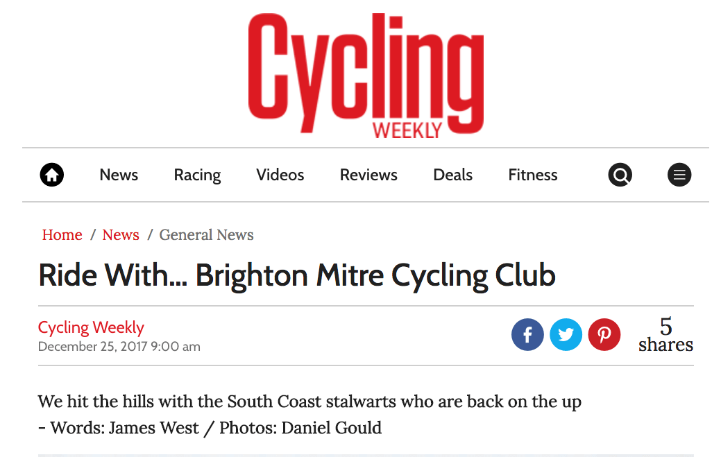 Screen shot from cycling Weekly Webpage feature on Brighton Mitre CC